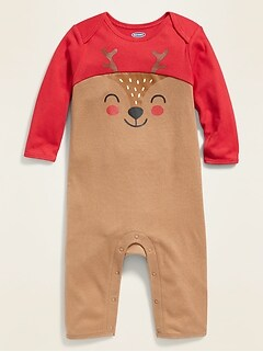 Color-Blocked Reindeer-Graphic One-Piece for Baby