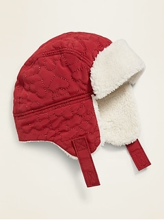 Heart-Quilted Sherpa-Lined Trapper Hat for Baby