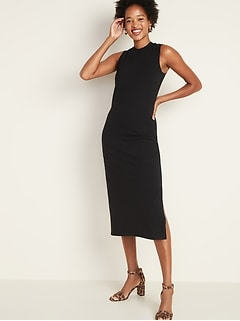 Fitted High-Neck Sleeveless Midi Dress for Women