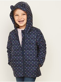 Hooded Packable Polka-Dot Puffer Jacket for Toddler Girls