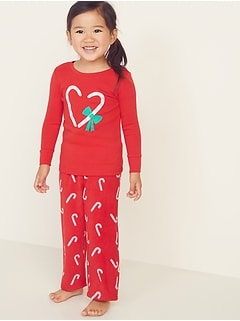 Candy Cane Graphic Pajama Set for Toddler Girls & Baby