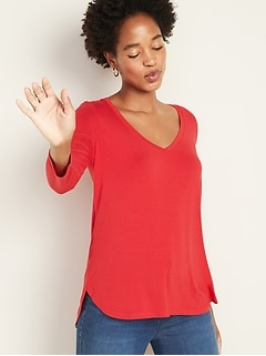 Luxe Bracelet-Sleeve V-Neck Tee for Women