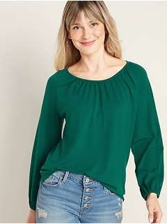 Loose 3/4-Length Poet-Sleeve Top for Women
