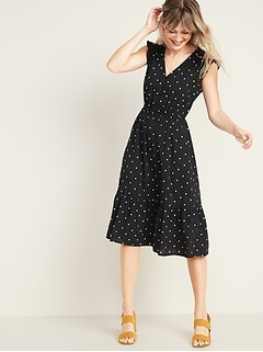 Waist-Defined Button-Front Midi Prairie Dress for Women