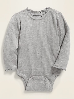 Rib-Knit Lettuce-Edge Bodysuit for Baby