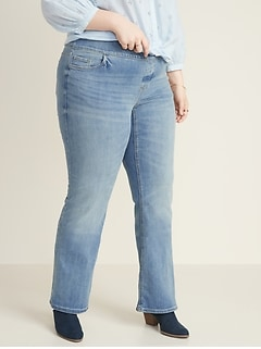 High-Waisted Pull-On Boot-Cut Plus-Size Jeans