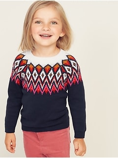 Fair Isle Crew-Neck Sweater for Toddler Girls