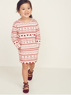 Fair Isle Sweatshirt Shift Dress for Toddler Girls