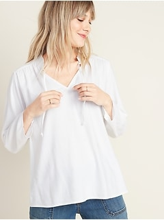Mandarin-Collar Tie-Neck Twill Top for Women