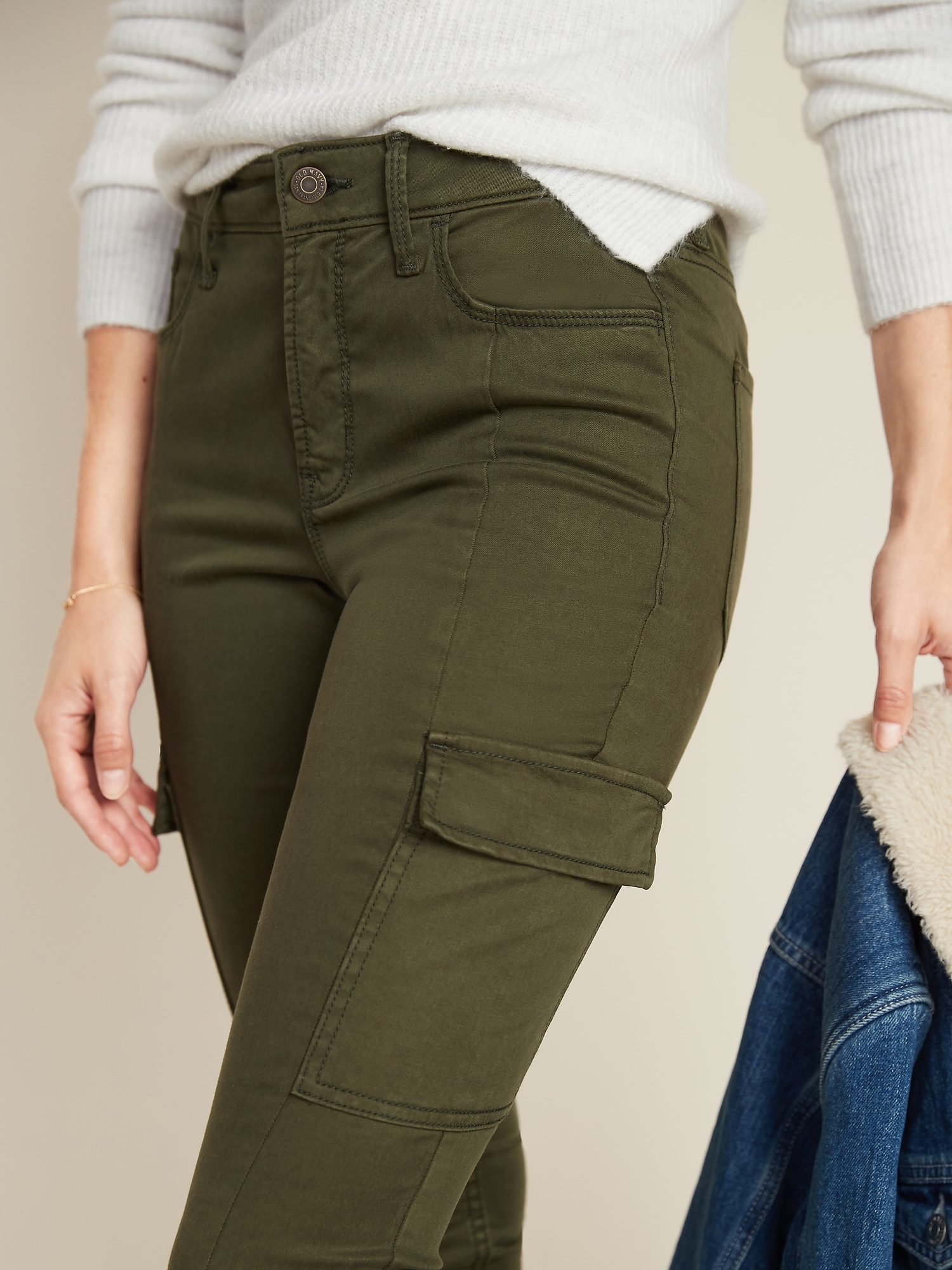 High Waisted Sateen Rockstar Super Skinny Cargo Pants For Women Old Navy