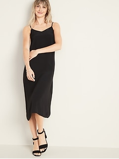 Sleeveless V-Neck Midi Slip Dress for Women
