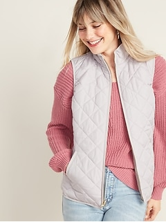 Lightweight Diamond-Quilted Zip-Front Vest for Women