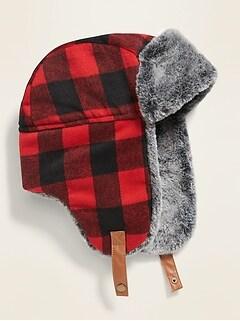 Plaid Flannel Faux-Fur Trim Trapper Hat for Men