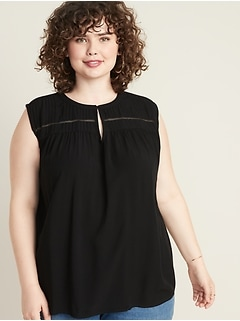 Sleeveless Plus-Size Pintuck Top