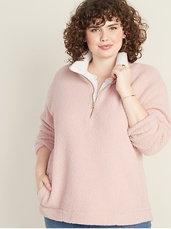Plus-Size Sherpa 1/4-Zip Pullover