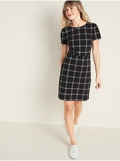 Ponte-Knit Plaid Sheath Dress for Women
