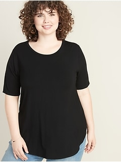 Luxe Plus-Size Crew-Neck Tunic Tee