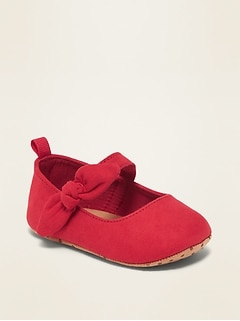 Faux-Suede Bow-Tie Ballet Flats for Baby