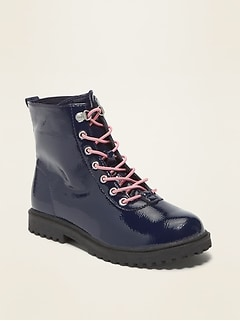 Faux-Patent Elastic-Lace Combat Boots for Girls
