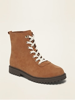 Faux-Suede Elastic-Lace Combat Boots for Girls