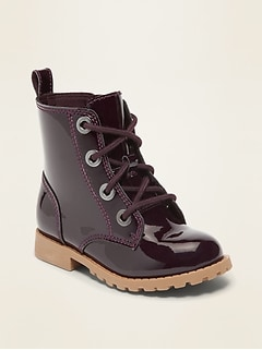 Faux-Patent Combat Boots for Toddler Girls