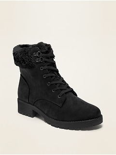 Faux-Fur-Lined Sueded Boots for Women