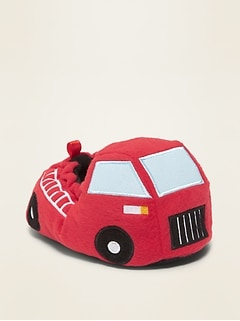 Plush Fire Truck Slippers for Toddler Boys