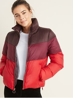 Color-Block Frost-Free Puffer Jacket for Women