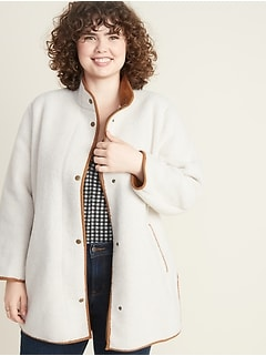 Plus-Size Snap-Front Long Sherpa Coat