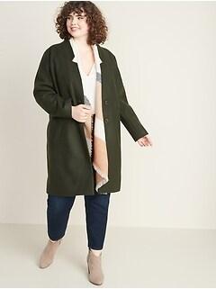 Oversized Soft-Brushed Plus-Size Coat