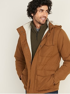 Water-Resistant Sherpa-Lined Detachable-Hood Military Jacket for Men