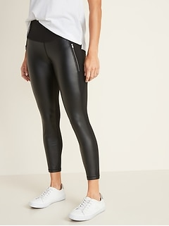 High-Rise 7/8-Length Zip-Pocket Street Leggings for Women