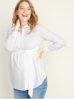 Maternity Tie-Belt  Popover Stretch Tunic Shirt