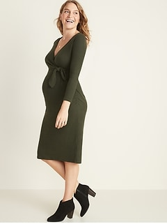 Maternity Tie-Front Bodycon Dress