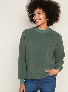 Mock-Neck Raglan-Sleeve Sherpa Sweatshirt for Women