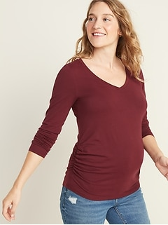 Maternity Fitted V-Neck Long-Sleeve Tee
