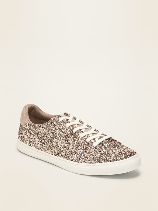 Glitter-Covered Lace-Up Sneakers for Women
