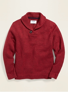 Fleece-Knit Shawl-Collar Pullover for Boys