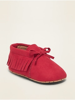 Faux-Suede Moccasin Booties for Baby