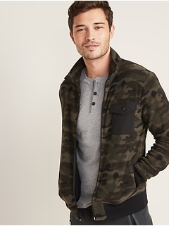 Camo Micro Performance Fleece Chest-Pocket Zip Jacket for Men