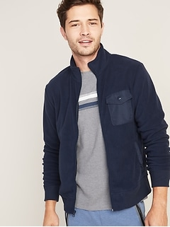 Micro Performance Fleece Chest-Pocket Zip Jacket for Men