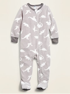 Dinosaur-Print Performance Fleece Footie Pajama One-Piece for Toddler & Baby