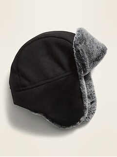 Flannel Faux-Fur Lined Trapper Hat for Boys