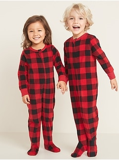 Micro Performance Fleece Footie Plaid Pajama One-Piece for Toddler & Baby