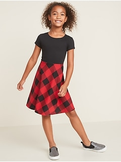 Jersey Fit & Flare Short-Sleeve Dress for Girls