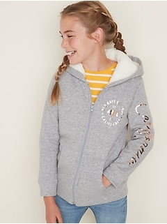 Sherpa-Lined Logo-Graphic Hoodie for Girls