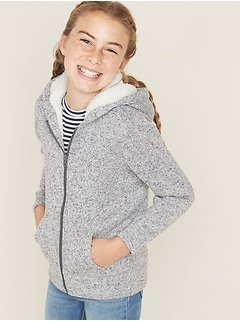 Sherpa-Lined Sweater-Fleece Zip Hoodie for Girls