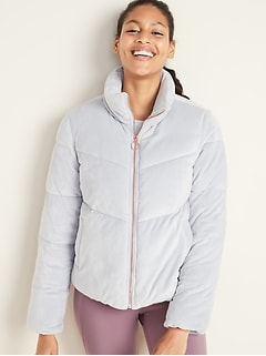 Quilted Velour Zip Jacket for Women