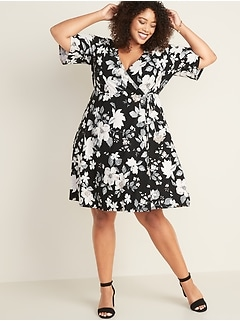 Fit & Flare Faux-Wrap Plus-Size Dress
