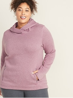 Go-Warm Plus-Size Fleece-Knit Pullover Hoodie